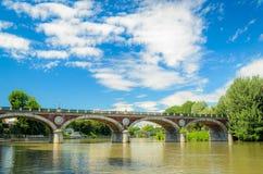 Turin (Torino), flod Po och bro Isabella Royaltyfria Foton