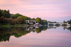 Turin (Torino), flod Po och bro Umberto I Royaltyfria Foton
