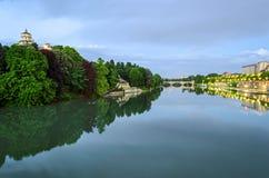 Turin (Torino), flod Po och Cappuccini Royaltyfri Bild