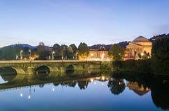 Turin (Torino), flod Po och Gran Madre Royaltyfria Foton