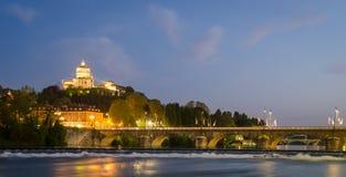 Turin (Torino), flod Po och Murazzi Fotografering för Bildbyråer