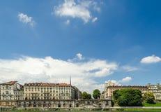 Turin (Torino), flod Po och Murazzi Royaltyfria Bilder