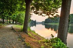 Turin (Torino), flod Po och Valentino Park Arkivbild