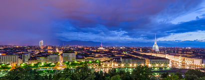 Turin (Torino), HD panorama at twilight Royalty Free Stock Photos