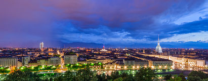 Turin (Torino), HD panorama at twilight Royalty Free Stock Image