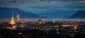 Turin (Torino) high definition panorama with all the city skyline Stock Photos