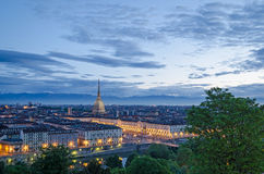 Turin (Torino), high definition panorama at twilight Stock Photo