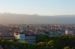 Turin (Torino), Italien, panorama- sikt på kunglig Pal Royaltyfri Fotografi