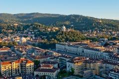 Turin (Torino), Italien, panorama- sikt på Piazza Vi Royaltyfri Fotografi