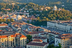 Turin (Torino), Italien, panoramische Ansicht über Marktplatz VI Lizenzfreies Stockfoto