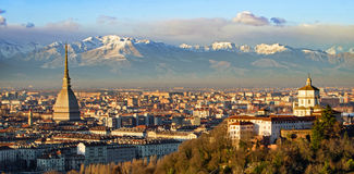 Turin (Torino), Mole Antonelliana and Alps Stock Images