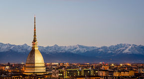Turin (Torino), Mole Antonelliana and Alps Royalty Free Stock Photo