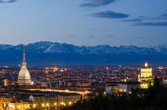 Turin (Torino), nattlandskap Royaltyfri Bild