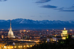 Turin (Torino), night landscape. With Alps Royalty Free Stock Image