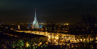 Turin (Torino), night panorama Stock Photography