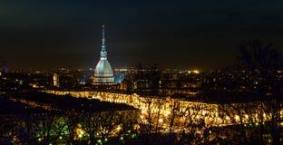 Turin (Torino), night panorama stock photography