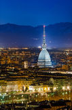 Turin (Torino), night panorama Royalty Free Stock Image