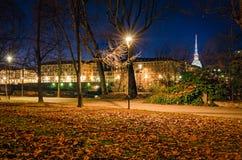 Turin (Torino), night view with Mole Antonelliana Royalty Free Stock Photography