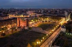 Turin Torino night view on Porte Palatine Stock Images