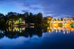 Turin (Torino), night view on river Po Stock Photo