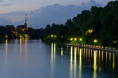 Turin (Torino), night view. With river Po and Mole Antonelliana Stock Images