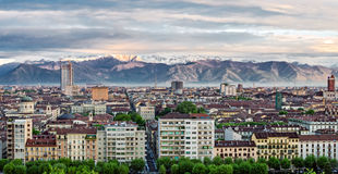 Turin (Torino), panorama with Alps Stock Images