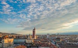 Turin (Torino), panorama från klockatornet Arkivfoton