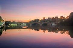Turin (Torino), panorama med floden Po Arkivbild