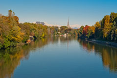 Turin (Torino), panorama med Po-floden Royaltyfri Bild