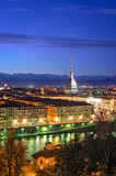 Turin (Torino), panorama med vågbrytaren Antonelliana Royaltyfri Foto