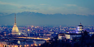 Turin Torino panorama with Mole Antonelliana and Alps Stock Photos