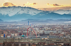 Turin (Torino), panorama with Olympic Arch, Tilt�shift effect Royalty Free Stock Image