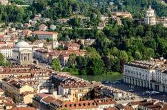 Turin (Torino), panorama på kullarna Arkivbild