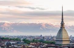 Turin (Torino), panorama på soluppgång Fotografering för Bildbyråer