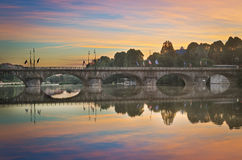 Turin (Torino), panorama with river Po at twilight Stock Image