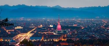 Turin (Torino), panorama- sammansättning Arkivbilder