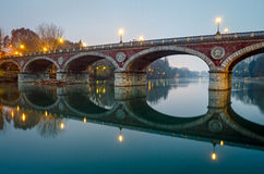 Turin (Torino), Ponte Isabella and river Po. Blue hour Stock Photos