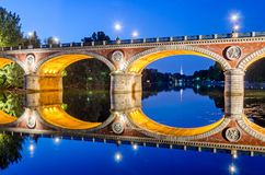 Turin (Torino), Ponte Isabella and river Po at blue hour. (with Mole Antonelliana in the background Royalty Free Stock Photos