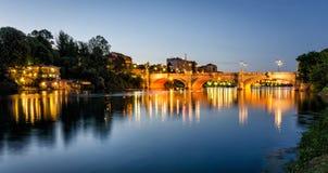Turin (Torino) river Po and Bridge Umberto I Stock Images