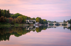 Turin (Torino), river Po and Bridge Umberto I Royalty Free Stock Photos