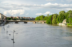 Turin (Torino) river Po flooding Royalty Free Stock Photo