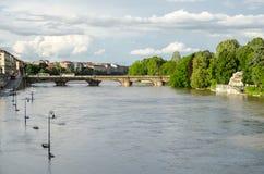 Turin (Torino) river Po flooding royalty free stock photo