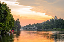 Turin (Torino), river Po and hills at sunrise Stock Images