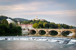 Turin (Torino), river Po and Monte dei Cappuccini Stock Photos