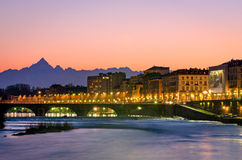 Turin (Torino), river Po and Monviso Stock Photography