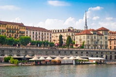 Turin (Torino), river Po and Murazzi Royalty Free Stock Photo