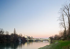 Turin (Torino), river Po. At sunset Royalty Free Stock Images