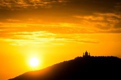Turin (Torino), solnedgång på Superga Fotografering för Bildbyråer