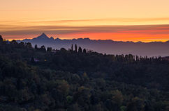Turin (Torino), sunset on Monviso Royalty Free Stock Image