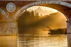 Turin (Torino), sunset on Monviso Stock Photography